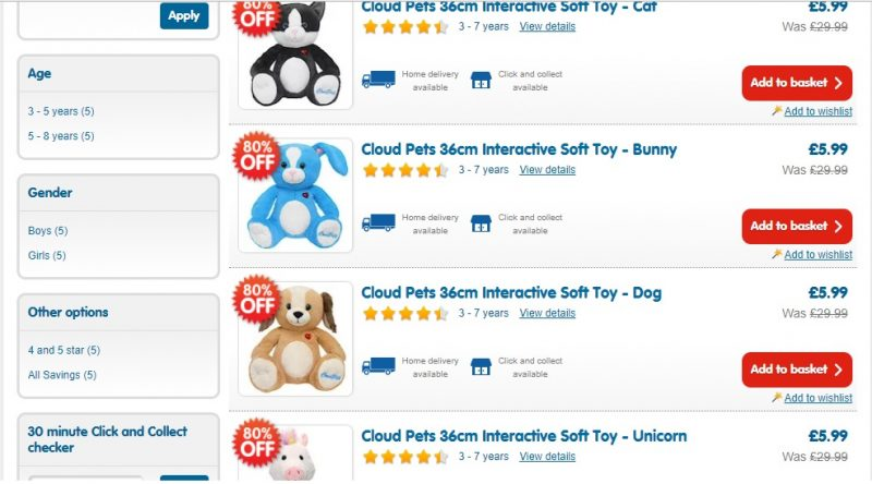 Interactive Cloud Pets now £5.99 Reduced From £29.99 (In-store & Online)                   |Affiliate Link|