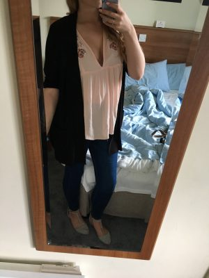 mirror selfie of me wearing a peach coloured top, blue jeans and black cardigan